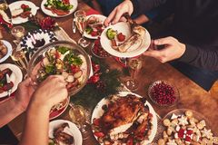 High angle view of table served for Christmas family dinner. Tab Stock Images
