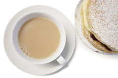 High angle view of tea cup and powdered sugar cake slice Stock Image