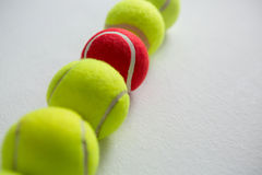 High angle view of tennis balls arranged in row Stock Image