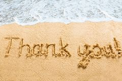Thank You Words Written On Beach Royalty Free Stock Image