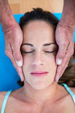 High angle view of therapist performing reiki Royalty Free Stock Images