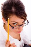 High angle view of thinking female student Royalty Free Stock Photo