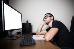High angle view of tired hacker sleeping near computer Stock Photos