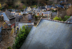 High angle view of a town, Dinan, Cotes-D'Armor, Brittany, Franc. E Royalty Free Stock Photos