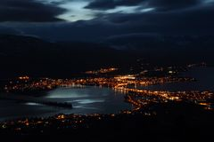 Osoyoos Dusk Lights, British Columbia. High angle view of the town of Osoyoos and Osoyoos Lake at night in the south Okanagan. A popular vacation destination Royalty Free Stock Photo