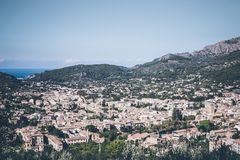 High angle view of town of Soller, Mallorca. Spain Royalty Free Stock Images