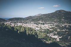 High angle view of town of Soller, Mallorca. Spain Royalty Free Stock Image