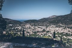 High angle view of town of Soller, Mallorca. Spain Stock Photo
