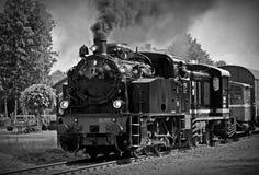 High Angle View of Train on Railroad Tracks Stock Photo