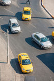 High angle view of Turkish taxis. ISTANBUL, TURKEY - MAY 10, 2010: Cars and taxis in the busy Taksim Square Stock Images