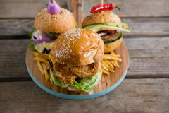 High angle view of various burgers Stock Photo