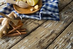 High angle view of various food with checked napkin on weathered table Royalty Free Stock Image