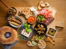 High Angle View of Various Tapas on Table Stock Photo