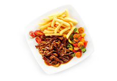 High angle view of veal in gravy ragout Royalty Free Stock Images