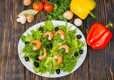 High angle view of vegetables, dill and parsley around plate wit. H salad with shrimps, lettuce leaves and olives in white plate on wooden desk Royalty Free Stock Photography