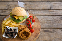 High angle view of vegetables with fried food by burger Royalty Free Stock Images
