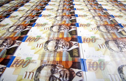 One Hundred Shekels Bills Background Stock Photo