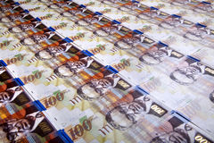 One Hundred Shekels Bills Background Royalty Free Stock Photo