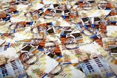 One Hundred Shekels Bills  Messy Background Stock Image