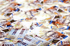 One Hundred Shekels Bills  Messy Background Stock Image