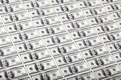 One Hundred Dollar Bills Background - Diagonal Stock Photos