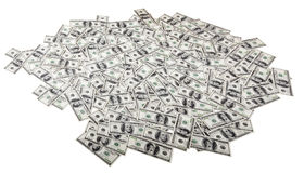 Isolated One Hundred Dollar Bills Background - Mess. A high angle view of a very large amount of 100 US$ money notes in a bulky mess Royalty Free Stock Photo