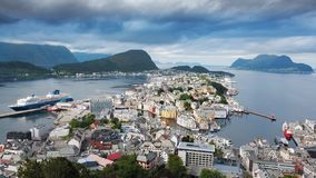 High angle view from viewpoint. Alesund stock image