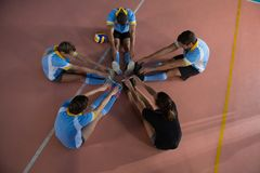 High angle view of volleyball players warming up Stock Image