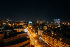 High angle view of Voronezh city at night Royalty Free Stock Images