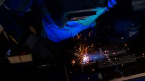 High angle view of welder working Stock Images