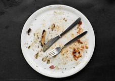 Remains of a pizza in a plate Stock Photo