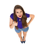 High Angle View Of Winking Woman Showing Thumb Up Stock Photos