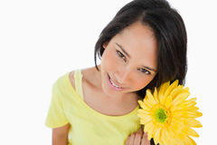 High-angle view of a woman holding a gerbera Stock Images