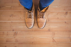 High angle view of woman wearing boots Stock Photos