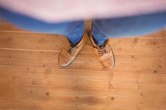 High angle view of woman wearing boots Royalty Free Stock Photo