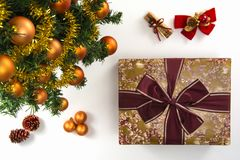 High angle view of a wrapped gift, a collection of Christmas orn Stock Photo