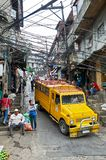 High-angle view of a yellow colored jeepney in Baguio royalty free stock images