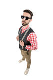 High angle view of young bearded hipster with sunglasses. Royalty Free Stock Photos