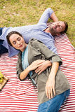 High angle view of young couple sleeping on picnic blanket Royalty Free Stock Photos