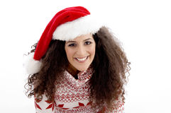 High angle view of young female with christmas hat Stock Photo