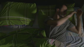 High angle view of young handsome man dreaming stock footage
