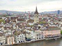 Zurich in Switzerland. High angle view of Zurich, the largest city in Switzerland Stock Photos