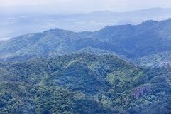 High angle viewpoint over rainforest mountains at Kanchanaburi, Thailand. High angle viewpoint over rainforest mountains at Thong Pha Phum. Kanchanaburi Royalty Free Stock Images