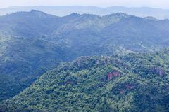 High angle viewpoint over rainforest mountains. In Thailand Stock Images