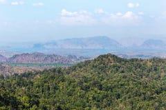 High angle viewpoint over rainforest mountains in Thailand. High angle viewpoint over rainforest mountains  at Thong Pha Phum. Kanchanaburi, Thailand Stock Photography