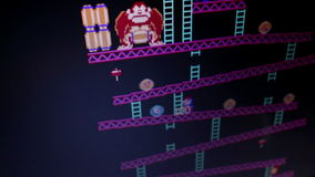 HIgh angle wide shot 'Donkey Kong' retro arcade vintage videogame during game. Play, as seen from player POV; camera dolly to follow some action (#2) Released stock video footage