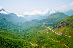 High angle winding road in mountain at sapa ,vietnam Royalty Free Stock Image