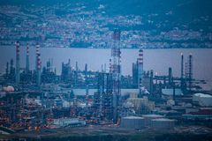 High angle zoomed view of Tupras Oil Rafinery, Kocaeli, Turkey. High angle zoomed view of Tupras Oil Rafinery. Tupras is Turkey`s largest oil refinery located in stock photography