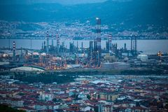 High angle zoomed view of Tupras Oil Rafinery, Kocaeli, Turkey. High angle zoomed view of Tupras Oil Rafinery. Tupras is Turkey`s largest oil refinery located in stock image