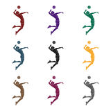 High athlete plays volleyball.The player throws the ball in.active sports single icon in black style vector symbol stock. Web illustration Royalty Free Stock Image
